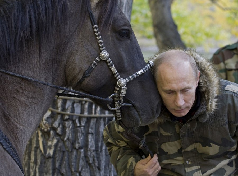 Vladimir Putin in the reserve Ubsunursuoy basin during the expedition to survey the habitat of snow leopards, Siberian Federal District, 29 October 2010.