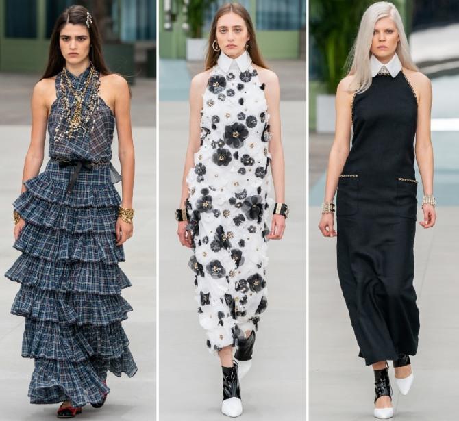нарядные модные фасоны платьев от шанель на весну 2020 года
