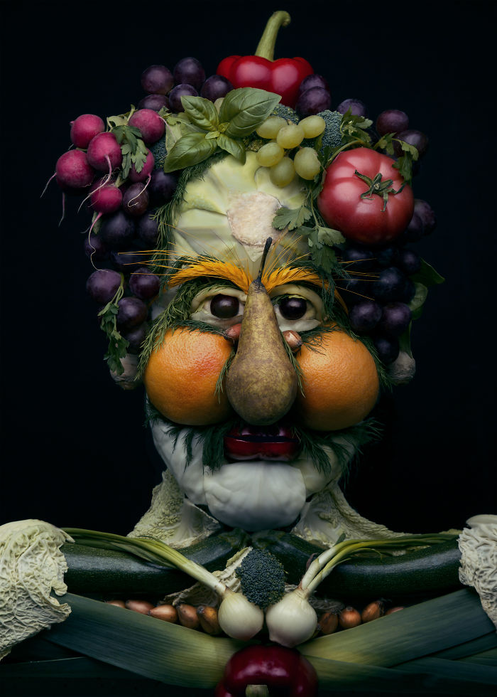 I Use Fruits And Vegetables To Create Realistic Looking Portraits