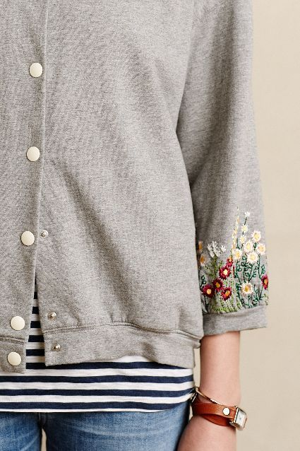 Embroidered Sweatshirt Jacket: