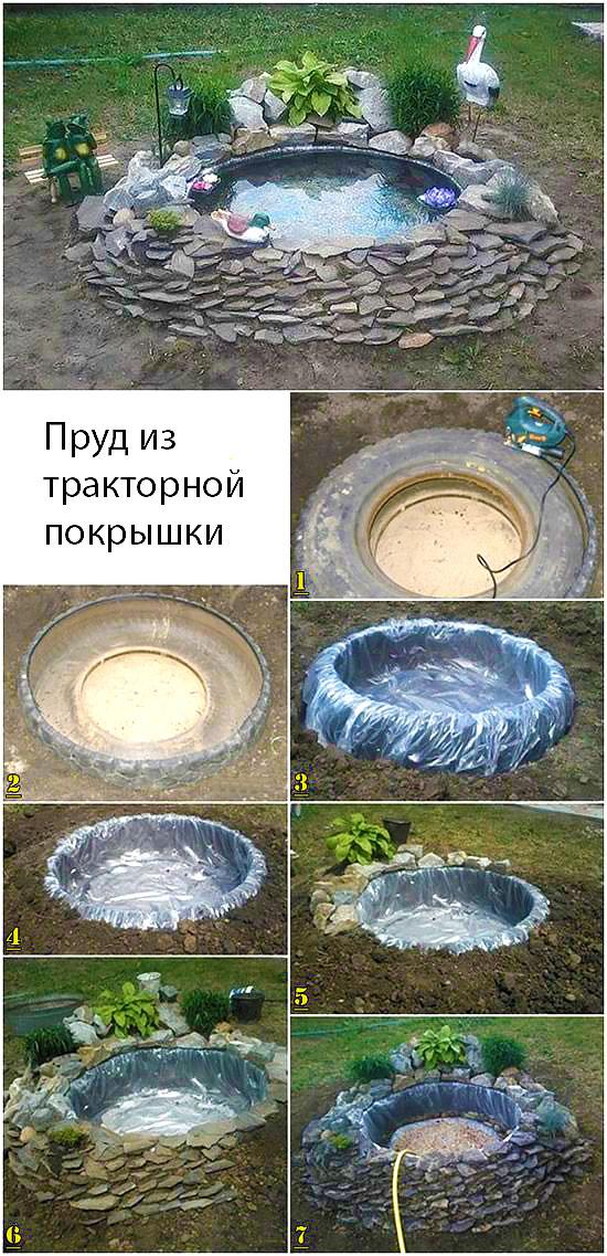 Как украсить пруд из покрышки своими руками