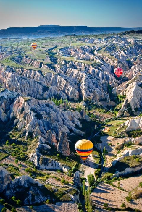 В воздушном шаре над Каппадокией. Турция. Фото