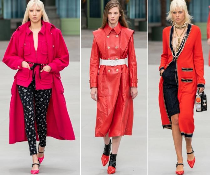 красные женские пальто из коллекции Шанель Курорт 2020