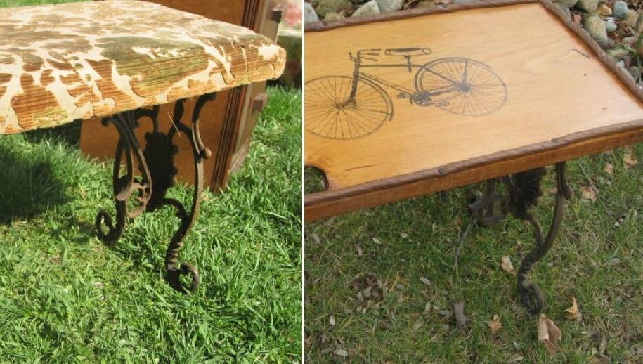 Неожиданная переделка: кофейный столик из старой скамьи