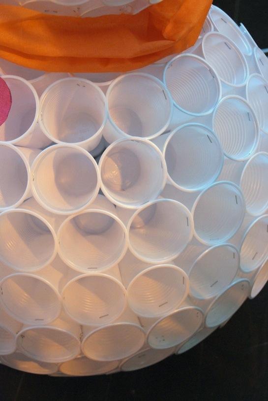 Снеговик из пластиковых стаканчиков с МК