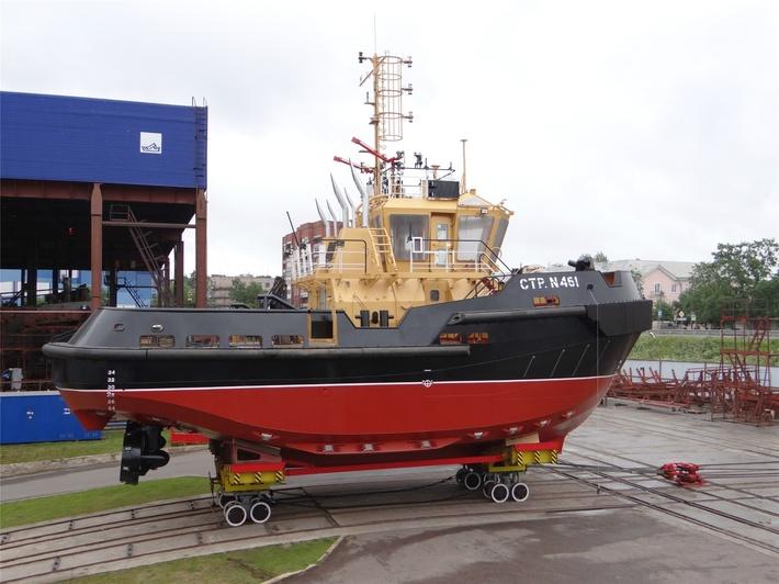 Спуск на воду 3-го буксира проекта 04690 на ЛСЗ «Пелла»