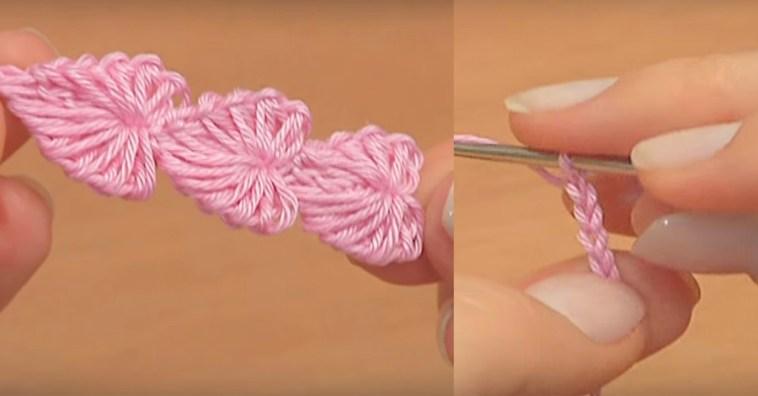 Посмотрите, как связать цепочку из милых сердечек