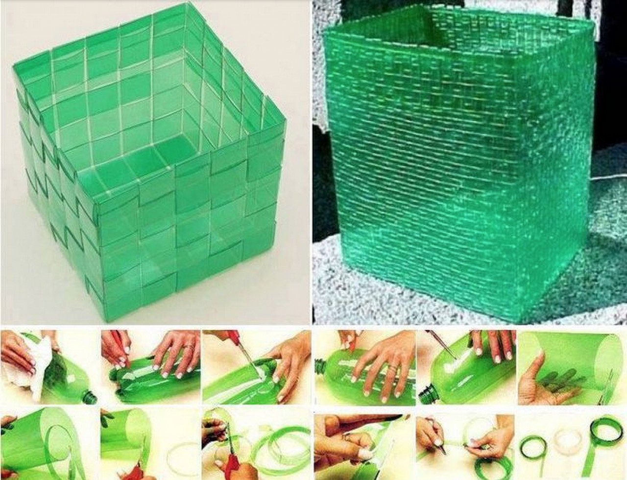 Как сплести корзину из пластиковой бутылки - море идей