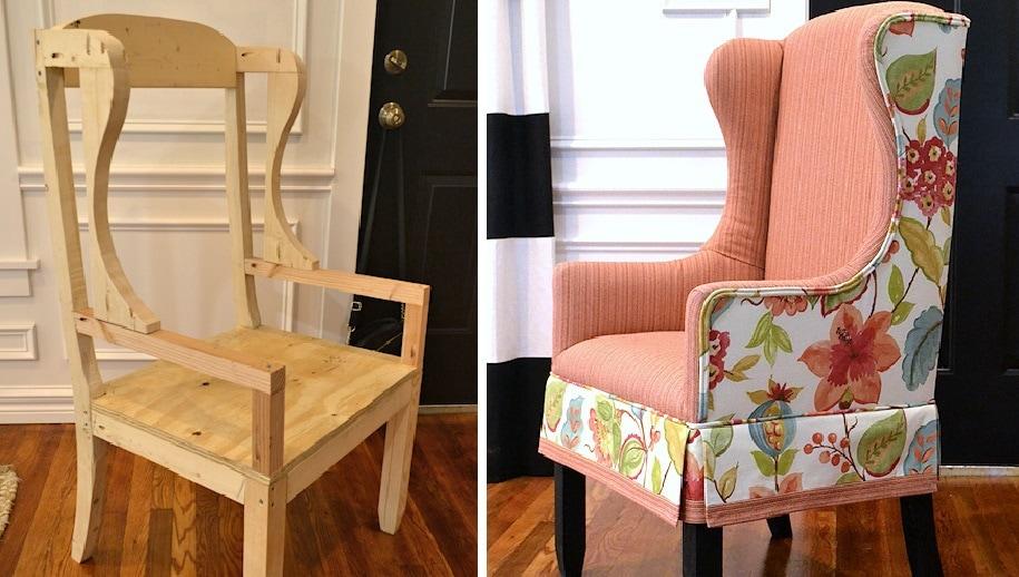 Переделка обычного стула в очень стильное кресло: пошаговый мастер-класс