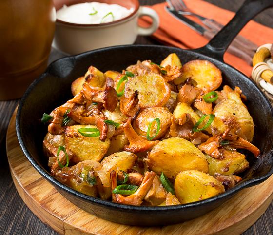 Жареная картошка с лисичками пошаговый рецепт с