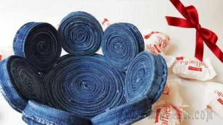 Делаем интересную корзиночку из старых джинсов своими руками
