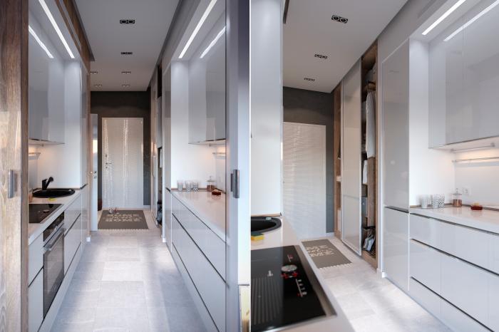 Кухня-коридор позволяет быстро и аккуратно готовить любимые блюда.