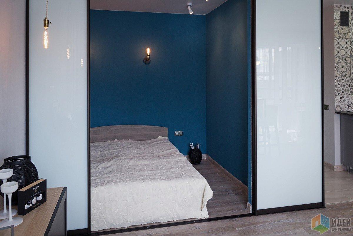 Спальная зона. Кровать на 160 и 80 см проход.