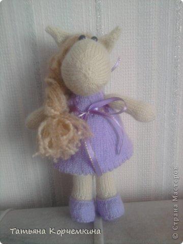 Игрушка Мастер-класс Вязание спицами Вяжем лошадку спицами Пряжа фото 1