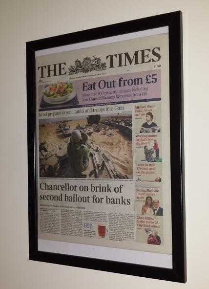 Обложка The Times, заголовок с которой попал в нулевой блок Bitcoin