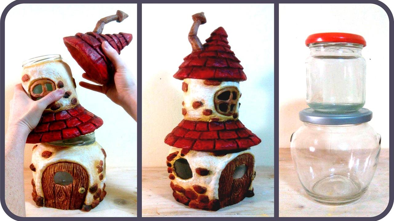 Бутылки с домиками из глины своими руками