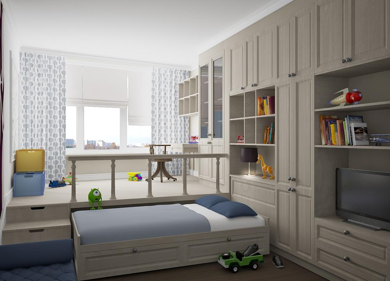 Кровать-подиум в интерьере маленькой квартиры