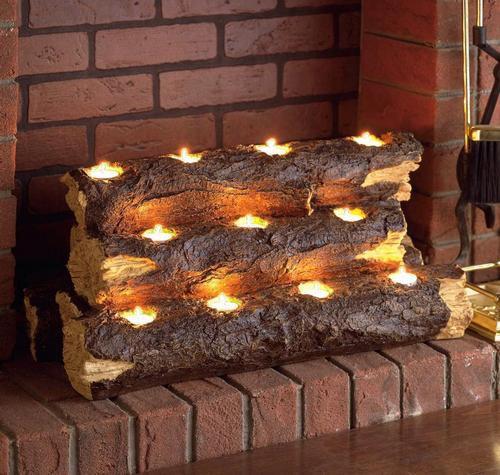 Забавная альтернатива камину – подсвечник в виде древесного полена. В нише фальшкамина такая композиция будет смотреться очень колоритно. «Tealight», Improvements