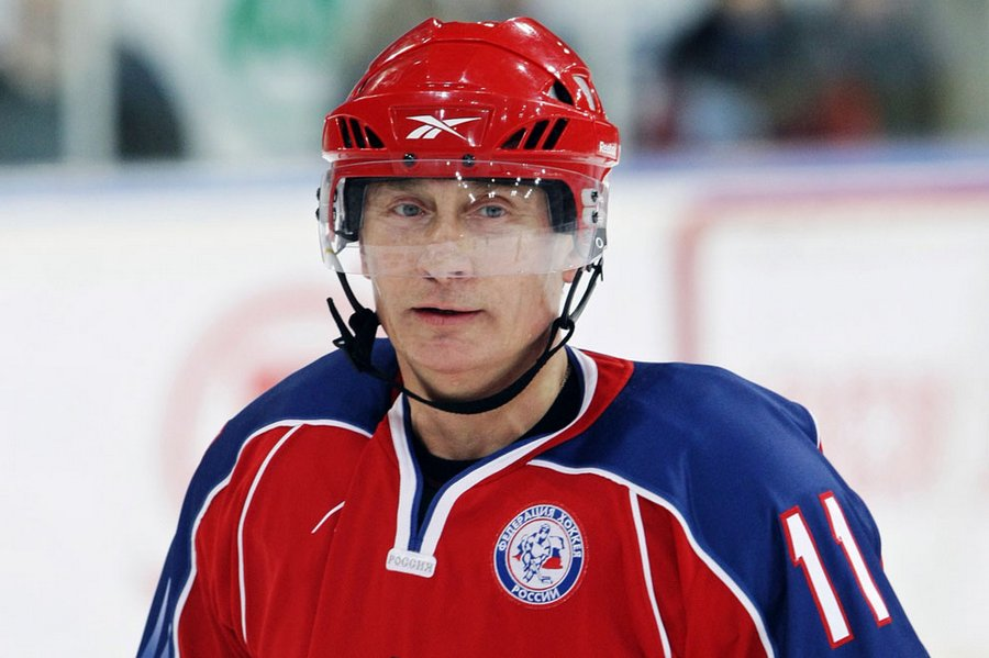 "VV  Putin takes part in the training of the youth hockey team before the finals of the youth hockey tournament ""Golden Puck"" in Moscow, 15 April 2011."