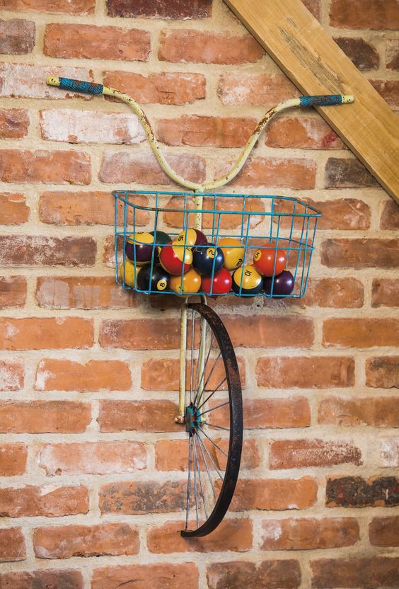 Front Basket Metal Bicycle and Planter Wall Decor: