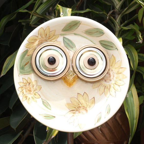 Whooo Owl Hoot Glass Plate Flower repurposed by ARTfulSalvage, $42.00:
