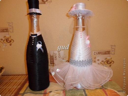 Декор предметов Мастер-класс Свадьба Аппликация Свадебные бутылочки и МК Ленты фото 28