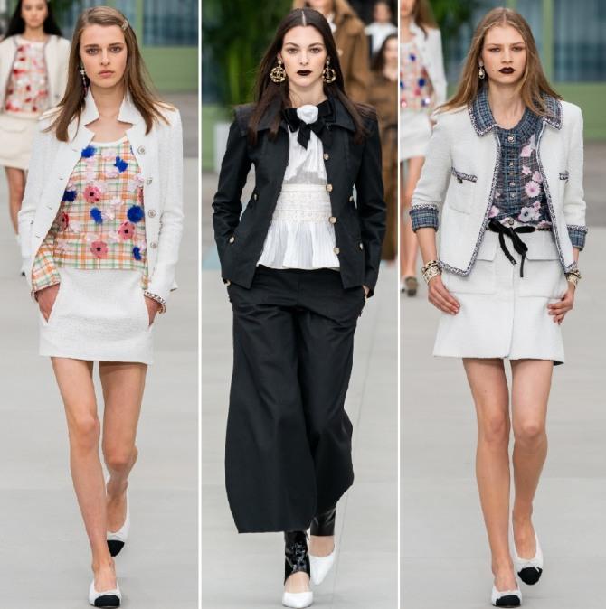 белые и черные костюмы от Шанель - мода 2020 года