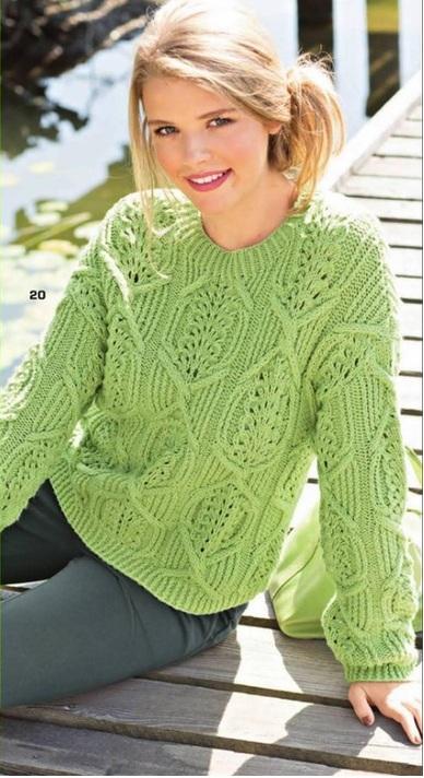 Пуловер с узором из кос