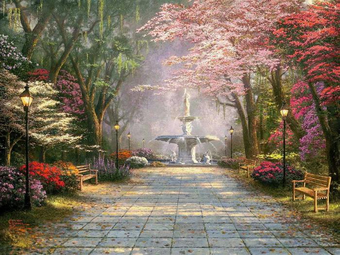 Когда цветут деревья, а воздух благоухает ароматами цветов, невольно улыбаешься, наслаждаясь им вновь и вновь. Автор: Thomas Kinkade.