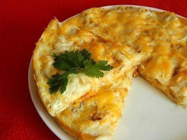 Блюдо из лаваша и сыра в духовке
