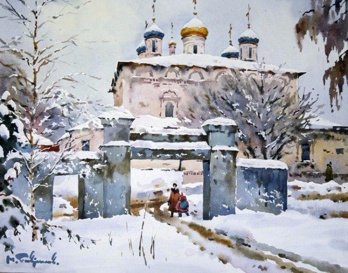 Русская зима в старинных русских городах - великолепные акварельные пейзажи Модеста Гаврилова