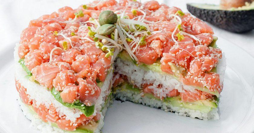 Салат суши пошагово