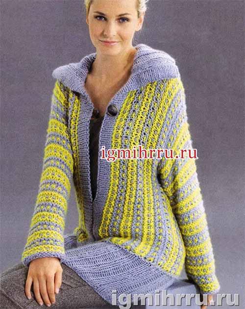 Удлиненный пуловер с узором из снятых петель