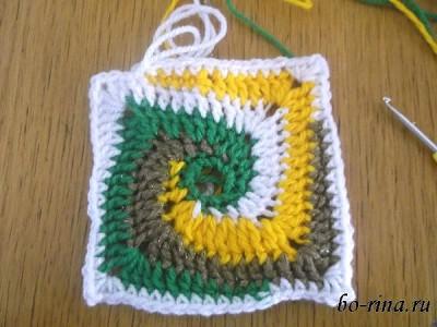Вязание. Квадрат мотивом «Бабушкина спираль»