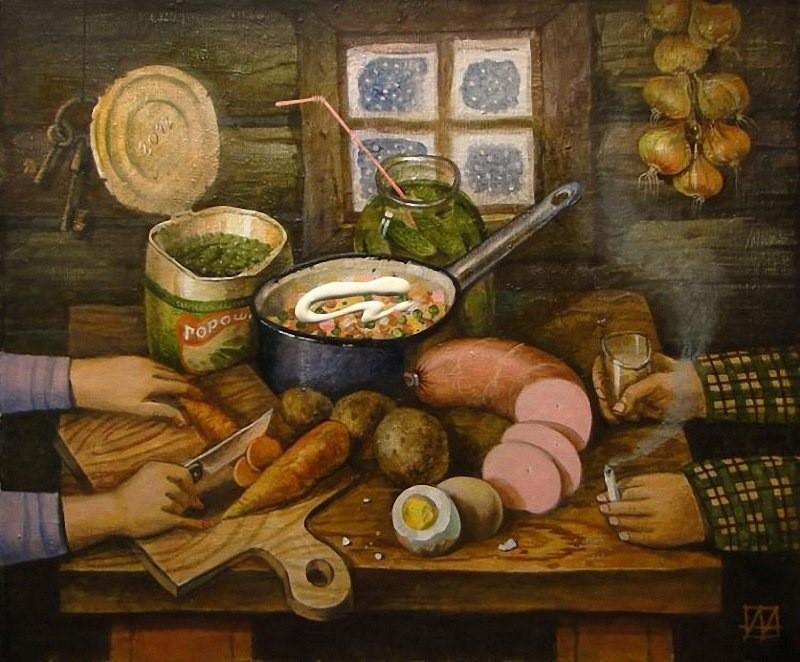 Оливье на картинах