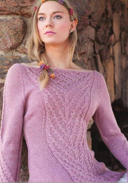 Пуловер с узором из кос «Рапунцель»