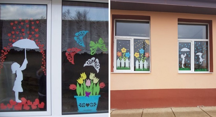 весенний декор в детском саду