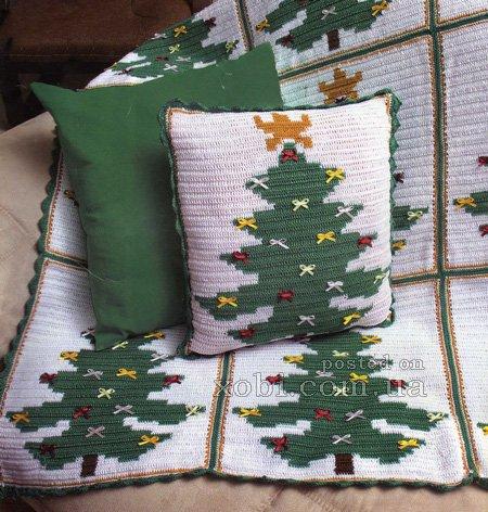Новогодние подушка и плед связанные крючком