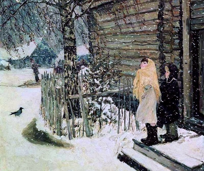 Пластов А.А Первый снег. 1946 (700x586, 214Kb)