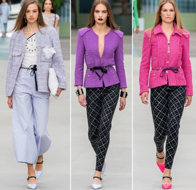 цветные жакеты от Шанель с брюками и легинсами