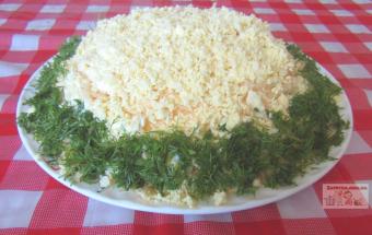 Слоёный салат «Курица под шубой»