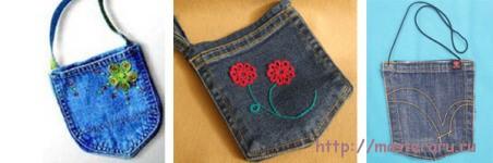 Детская сумочка из старых джинсов