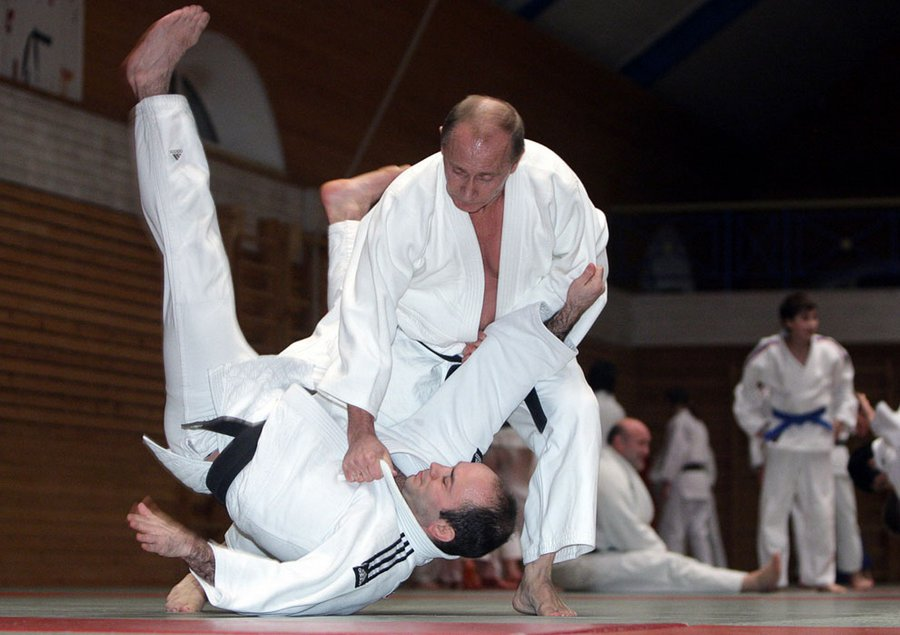 Russian President holds a master class in judo during his visit to St. Petersburg on 18 December 2009.