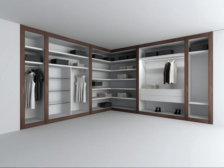 Роскошный угловой гардеробный шкаф