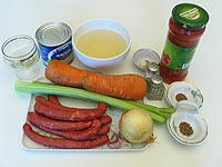 Рагу с копчеными колбасками. Ингредиенты