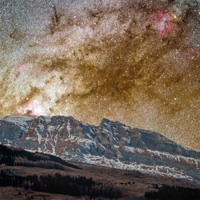Вид на Темную туманность. Фото сделано в Швейцарии