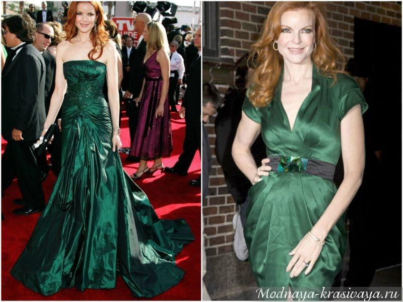 Рыжие волосы с зеленым платем