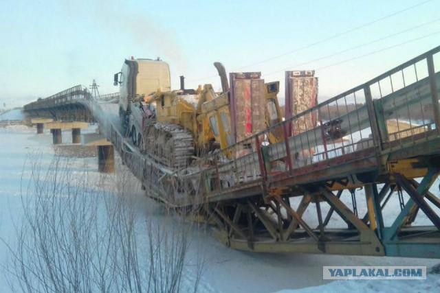 В Бурятии автомобильный мост прогнулся под большегрузом