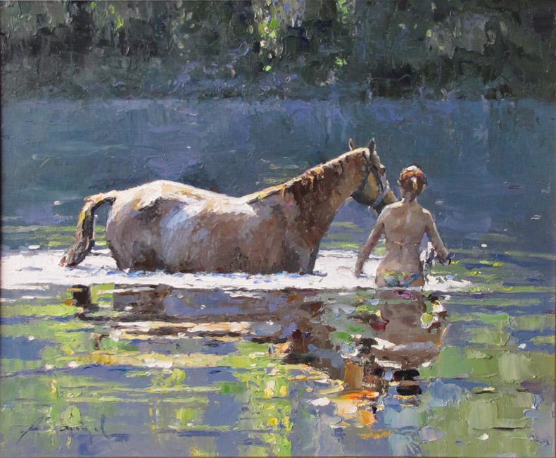 художник Зайцев Алексей, Купание коня