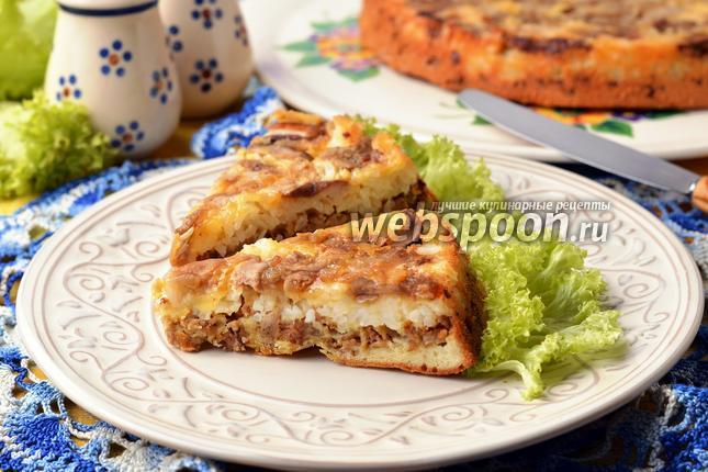 Пирог-перевёртыш с грибами и фаршем